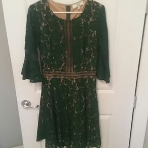 Miss May Green lace overlay dress